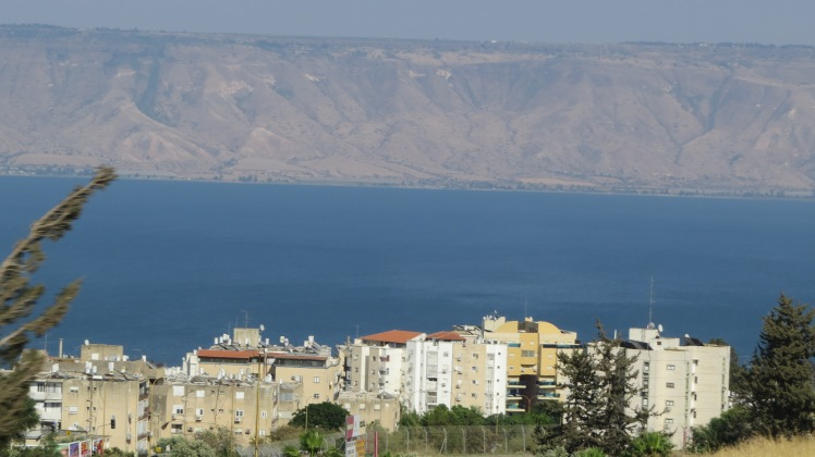 The last evening view of the Sea of Galilee.