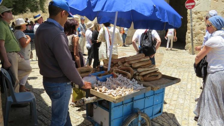 Street vendors selling food.