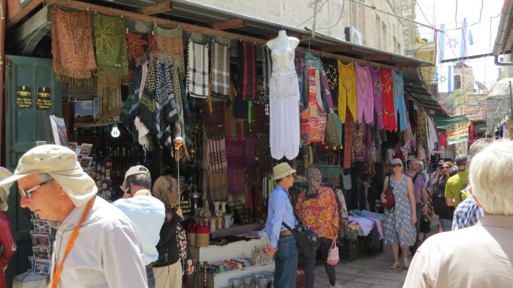 Walking the streets of Jerusalem, haggling with the vendors, eating falafel and shawarma for lunch.